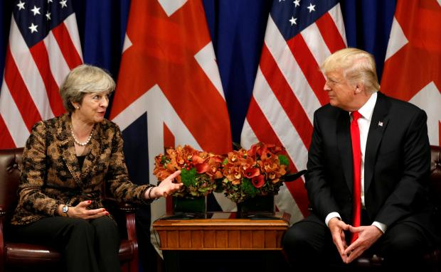 Donald Trump meets with Theresa May in New York.
