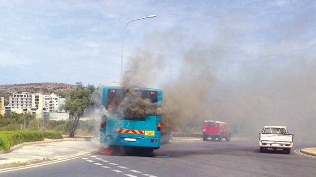 The latest bus fire at Xemxija yesterday afternoon.