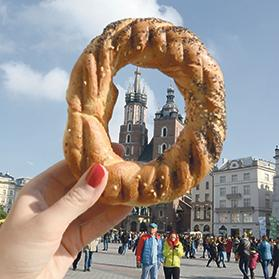 Krakow's Cathedral as seen through its most famous bagel, of which 150,000 are sold daily.