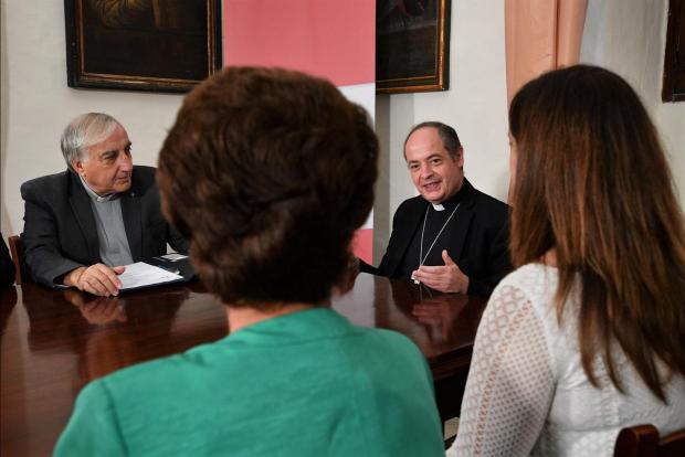 Auxiliary Bishop Joseph Galea-Curmi during the meeting.