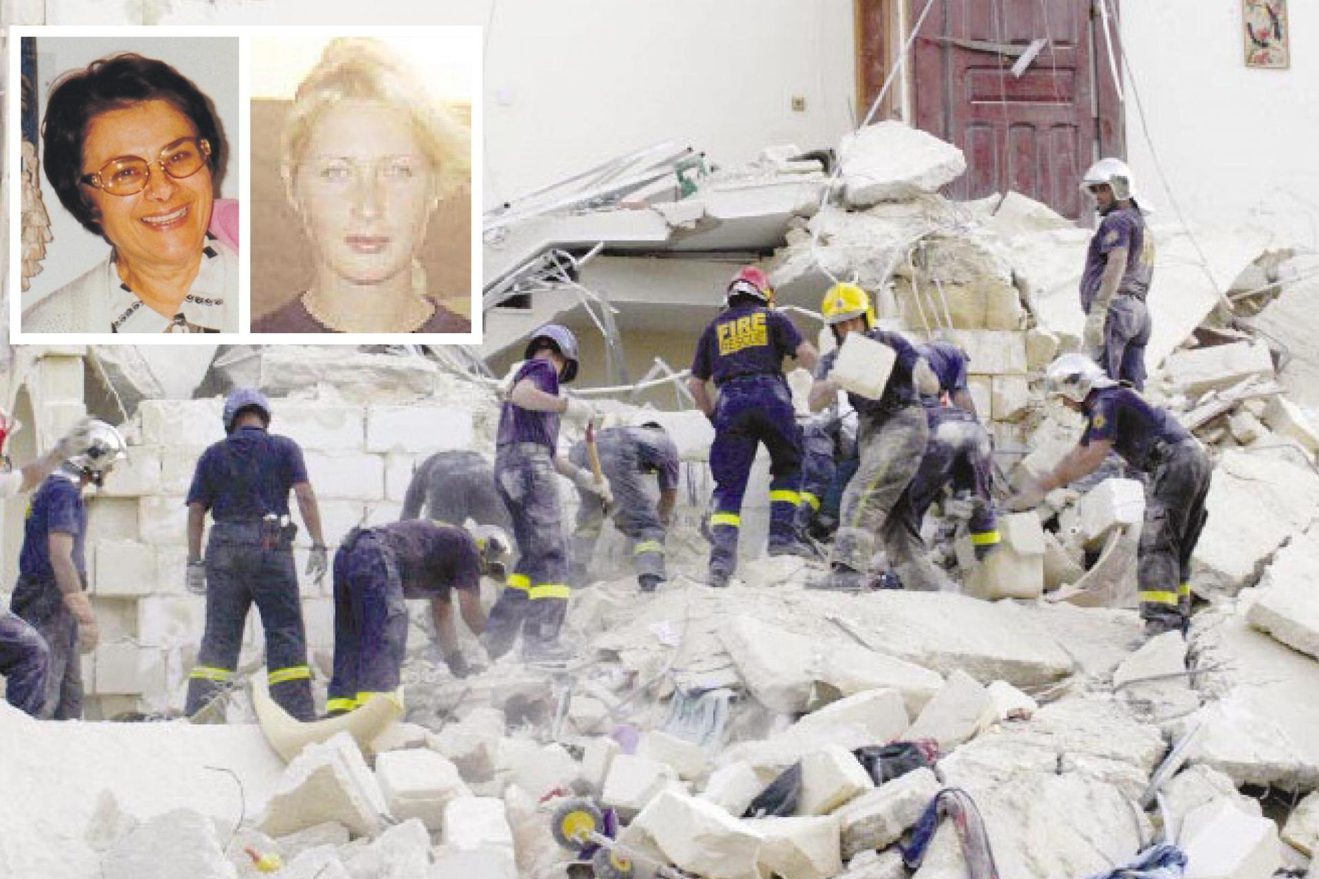 Maria Dolores Zarb (left, inset) was giving a Maltese language lesson to Nadya Vavilova (right, inset) in her apartment when the building collapsed, killing them both.