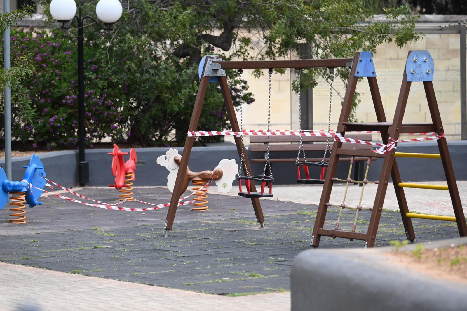 Playgrounds have been closed as a precaution. Photo: Mark Zammit Cordina