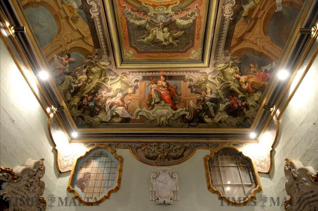 Artworks adorn the ceiling of the Mdina Cathedral Aula Capitulare as a press briefing on February 7 outlines the activities to celebrate the Mdina Cathedrals Museums 50th anniversary. Photo: Matthew Mirabelli