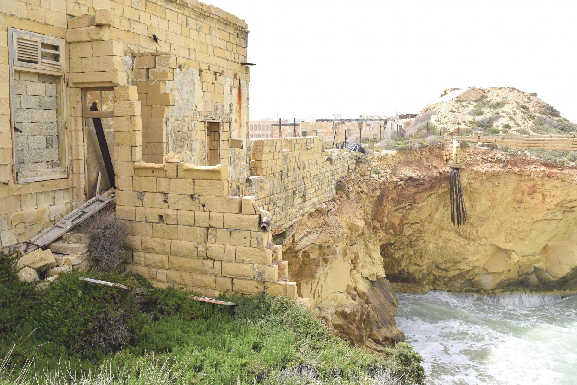 Fort Ricasoli continues to be damaged by wave action.