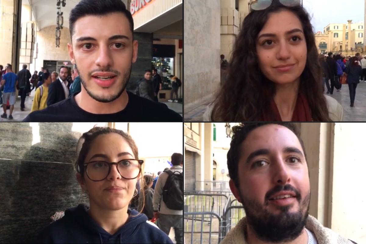 Gilbert, Rachel, Ariadne and Nick are among the young people taking to the streets. Photo: Bernard Casha/Gordon Watson