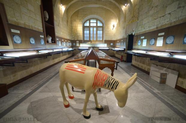 Donkeys moved into the cathedral on November 13 as part of the Mdina contemporary art biennale. The 21 life-sized fiberglass Maltese donkeys painted by Maltese and Mediterranean artists symbolise the need for peace in the region. Photo: Matthew Mirabelli