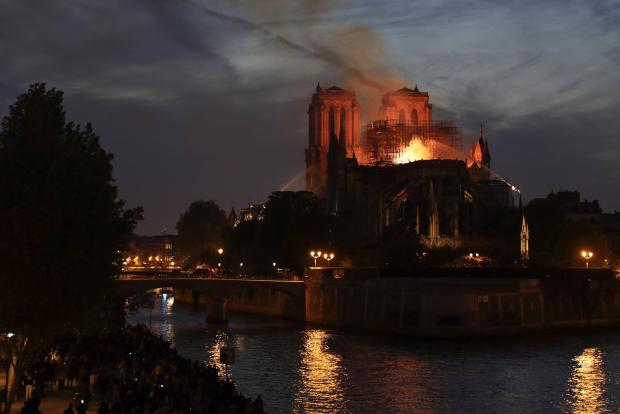 Firefighters still hoped to save the bell towers.