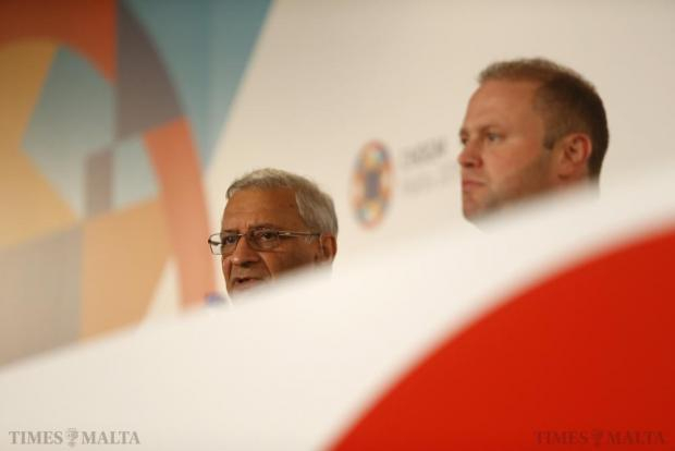 Commonwealth Secretary-General Kamalesh Sharma (left) and Maltese Prime Minister Joseph Muscat take part in a joint news conference before the Commonwealth Heads of Government Meeting (CHOGM), in St Julian's on November 25. Photo: Darrin Zammit Lupi
