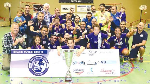 Luxol celebrate their Super Cup success after beating Valletta in a thrilling final. Photo: Joe Borg