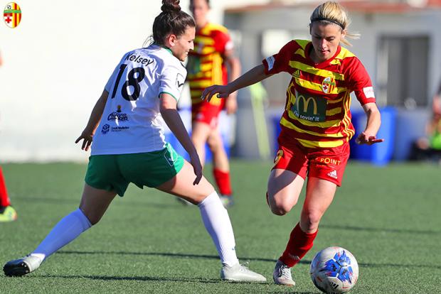 Alishia Sultana (right) in action for Birkirkara against Mġarr United in the last game of the season. Photo: Dominic Borg