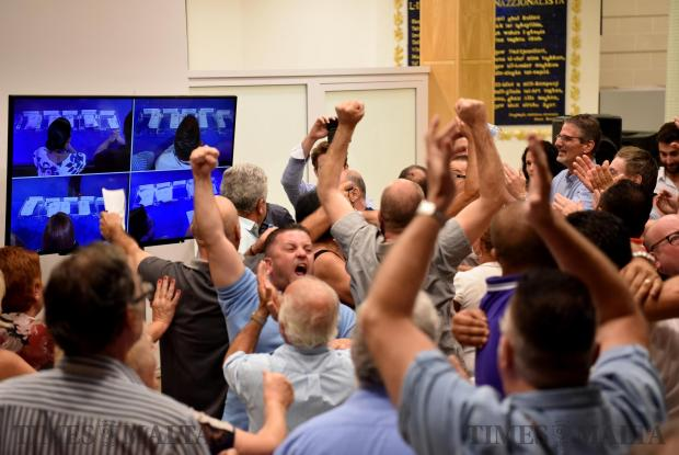 Nationalist party supporters sheer and shout when the first indications of their preferred candidate passes to the next round. The first round election was held at the Nationalist party headquarters in Pieta' on September 02. Photo: Mark Zammit Cordina
