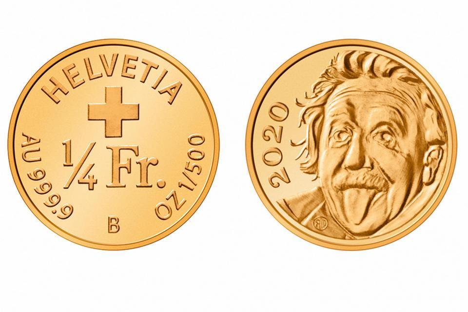 La moneda de un cuarto de franco suizo de oro emitida en 2020 que entró en el Libro Guinness de los Récords como la moneda conmemorativa más pequeña del mundo.  Fotos: Folleto / Swissmint / AFP