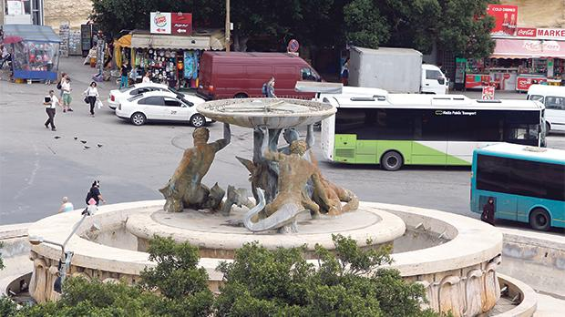 The bone-dry Triton Fountain in its recent state, awaiting a much-needed restoration. Photo: Darrin Zammit Lupi