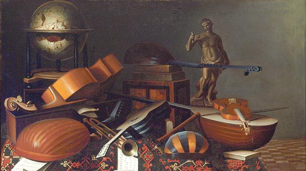 Still life with musical instruments, Evaristo Bschenis, oil on canvas, 17th century. Private collection. Photo: Peter Bartolo Parnis