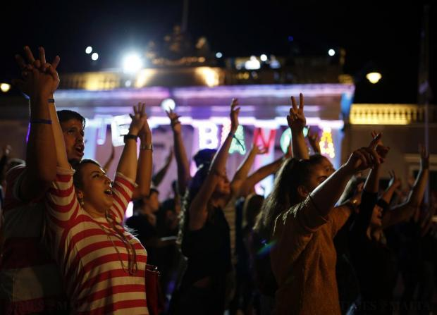 Revellers sing and dance during Notte Bianca (White Night) celebrations at St George's Square in Valletta on October 3. Photo: Darrin Zammit Lupi