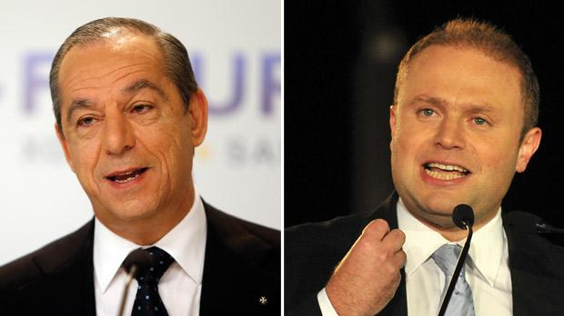 Prime Minister Lawrence Gonzi. Photo: Darrin Zammit Lupi. Right: Labour leader Joseph Muscat. Photo: Chris Sant Fournier
