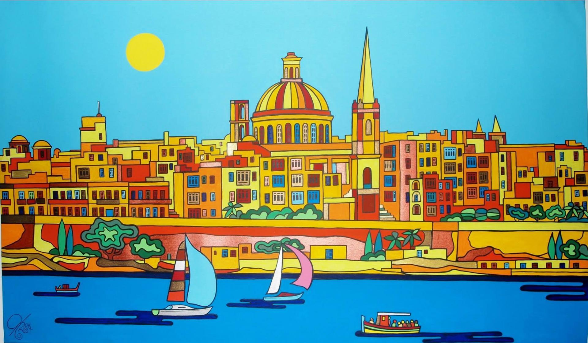A typical Malta-themed landscape by the Austrian artist. Photos: Facebook.com