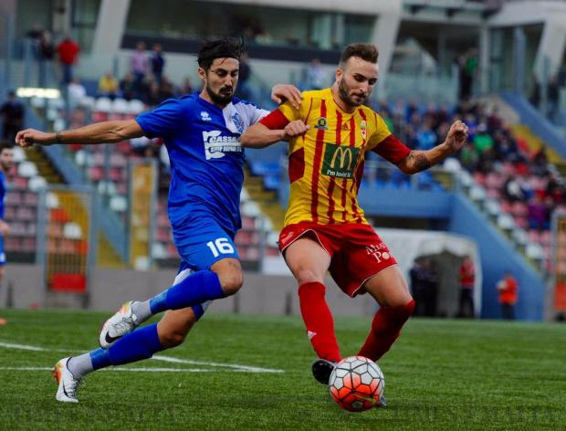 Tarxien Rainbows' Sergio Prendez, shares a tackle with Birkirkara's Ryan Scicluna during their BOV Premier League match at Victor Tedesco Stadium in Hamrun on November 26. Photo: Steve Zammit Lupi