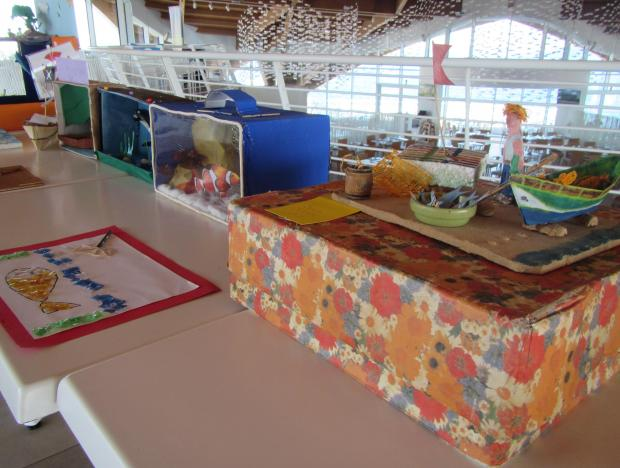 Some of the marine-themed projects made of recycled litter produced by Year 5 students from Birkirkara Primary and presented on the annual ocean literacy day at the Malta National Aquarium.