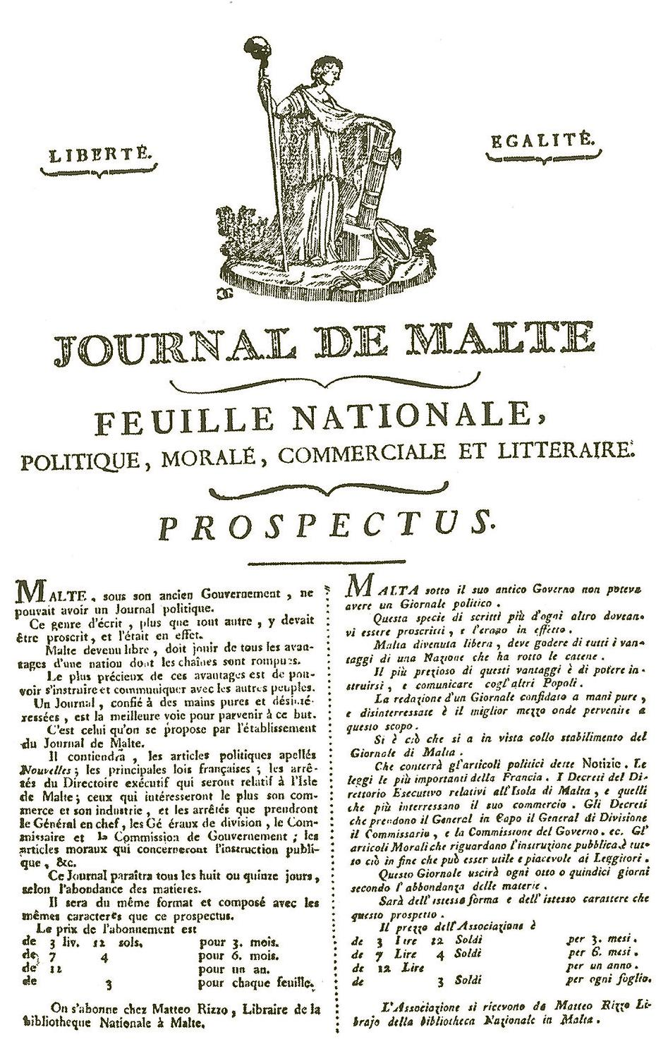 The prospectus of the Journal de Malte. Courtesy of the National Library of Malta