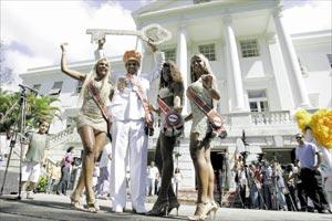 Carnival King, Queen, Princess and Second Carnival Princess dance with the ceremonial key during the opening of the carnival festivities in Rio de Janeiro, yesterday.