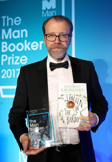 George Saunders with his prize. Photo: Press Association