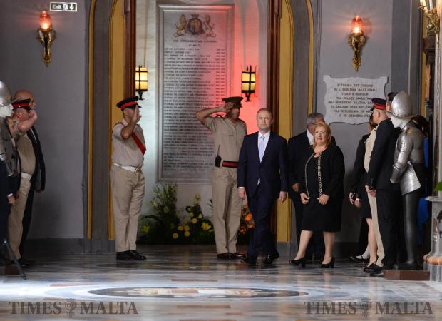 Joseph Muscat accompanied by President of Malta, Marie Louise Coleiro Preca make their way to the swearing in of Muscat as Prime Minister at the Palace of the Grand Master in Valletta on June 05. Photo: Matthew Mirabelli