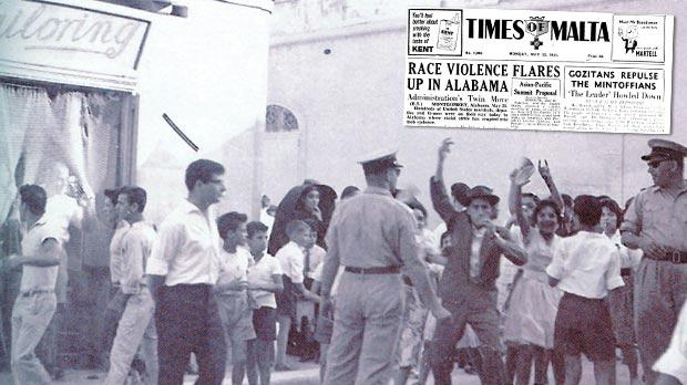 Gozitans took to the streets to derail plans by Dom Mintoff to hold a meeting at in Gozo in 1961. Inset, how Times of Malta reported it.
