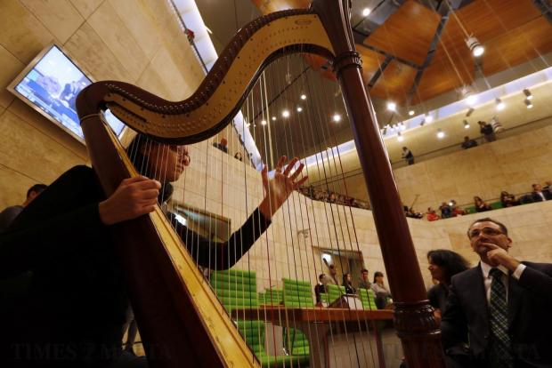 A musician plays the harp during a concert in Parliament in Valletta on February 24. The concert was performed in parliament as part of the Music Educational Programme by the Malta Philharmonic Orchestra in collaboration with the Malta Youth Orchestra and various music schools and band clubs. Photo: Darrin Zammit Lupi