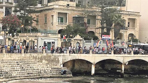 An LGBTI protest along the Balluta promenade.