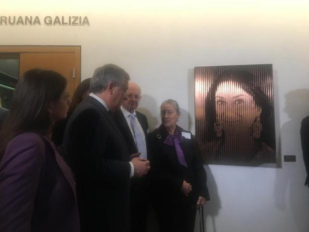 Caruana Galizia's family with Antonio Tajani.