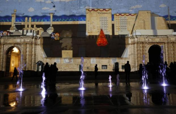 3D projections designed by students of the Malta College of Arts, Science and Technology are projected onto the facade of the Presidential Palace as part of Christmas celebrations in Valletta on December 23. Photo: Darrin Zammit Lupi