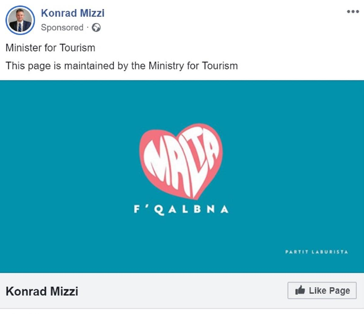Dr Mizzi's personal Facebook page was being administered through the use of public resources within his own ministry.