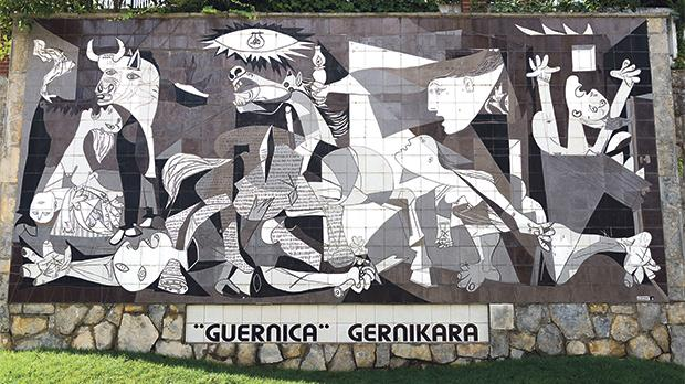 A tiled wall in Gernica reminds of the bombing during the Spanish Civil War.