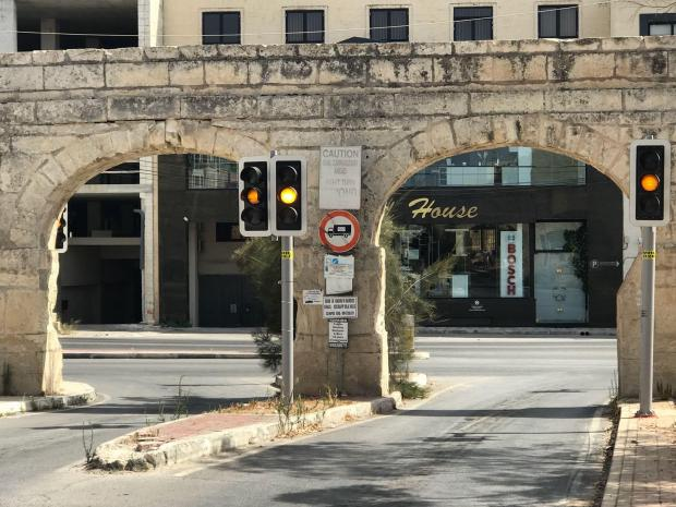 The sign forbids trucks from passing through the arches. Photo: Mark Zammit Cordina