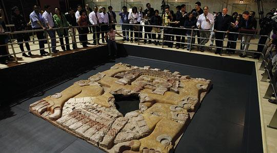 The massive stone sculpture of the Aztec goddess Tlalecuhtli. Photo: Eduardo Verdugo/PA.