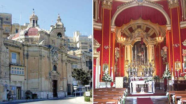 Our Lady of Liesse church, Valletta, built in 1740. Right: The interior of the church.