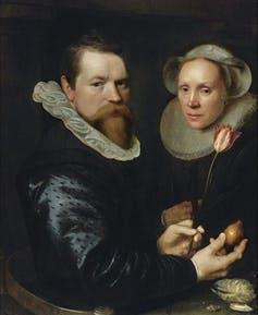A sign of good taste? Michiel Jansz van Mierevelt, 'Double portrait with tulip, bulb, and shell', 1606, Author provided