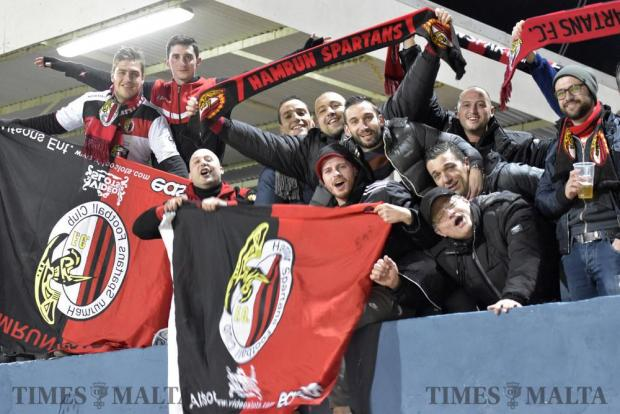Hamrun Spartans supporters celebrate their team's victory against Nadur youngsters at the Gozo stadium on January 11 Photo: Mark Zammit Cordina