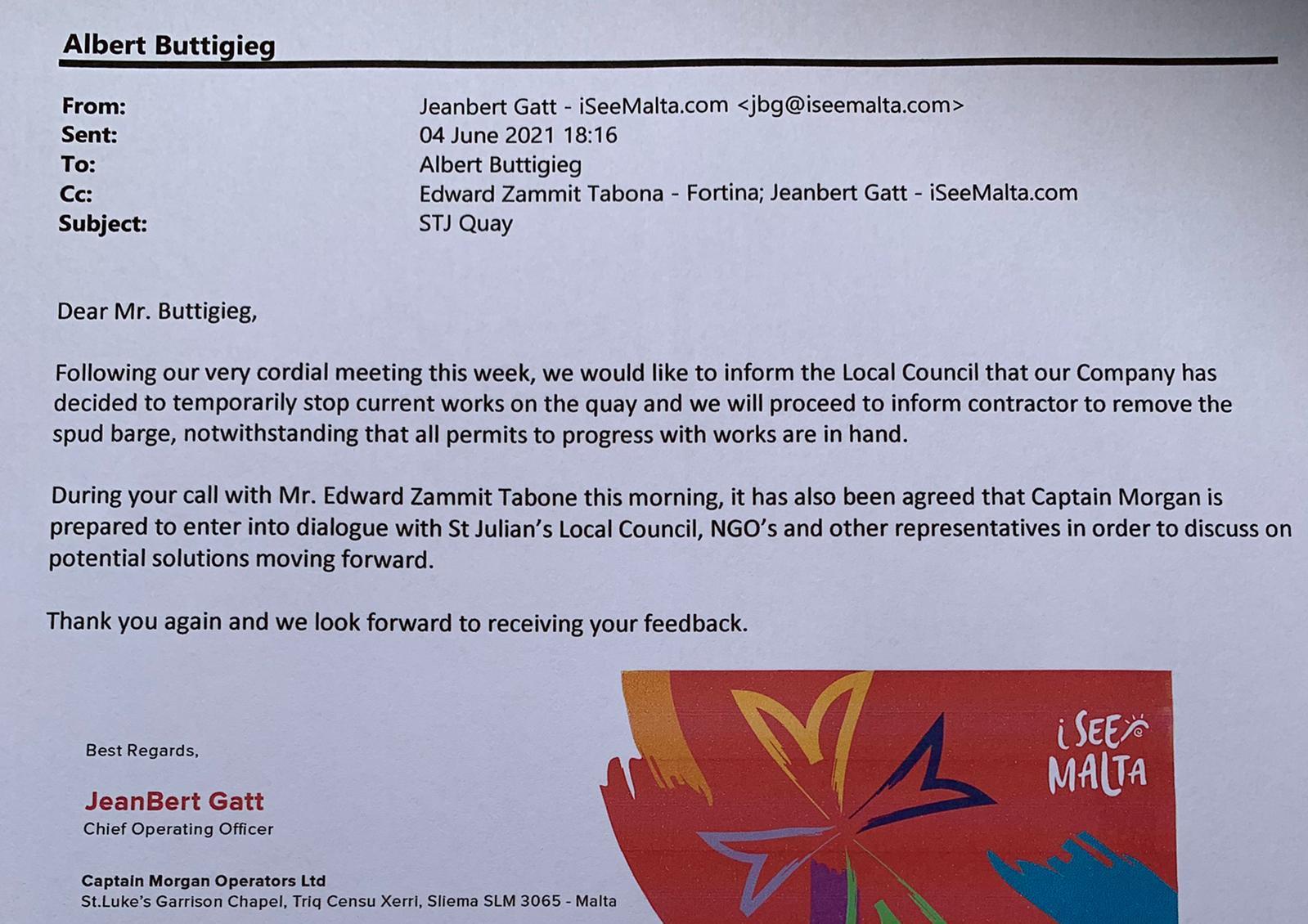 The email sent to St Julian's mayor Albert Buttigieg.