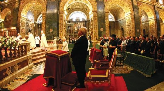 President Eddie Fenech Adami among the congregation at Victory Day Mass at St John's Co-Cathedral, Valletta, yesterday. Photo: Darrin Zammit Lupi