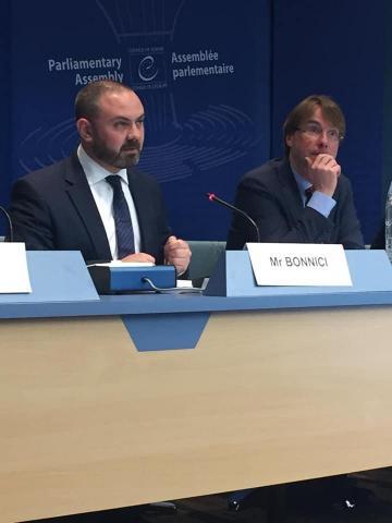 Dr Bonnici answers questions at the Council of Europe. Photo: Facebook/Owen Bonnici