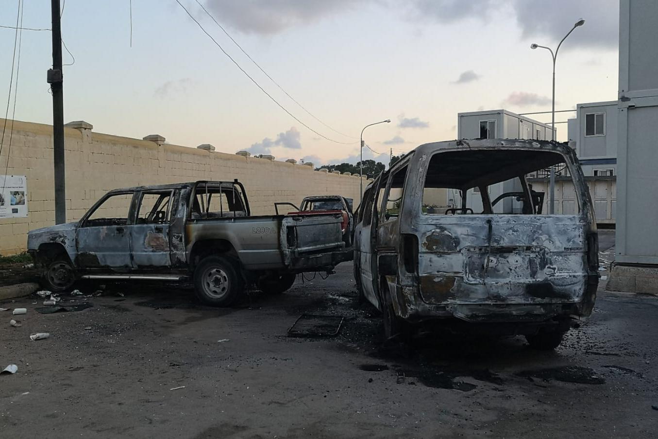 Burnt vehicles at Ħal Far.