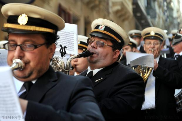 Band members accompany the Good Friday procession in Valletta on April 3. Photo: Chris Sant Fournier