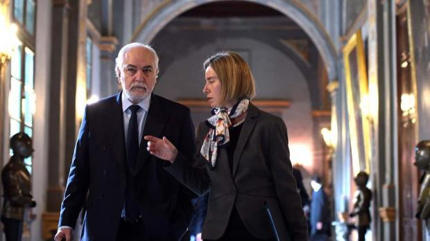 Deputy Prime Minister Louis Grech with EU foreign policy chief Federica Mogherini at the palace in Valletta this morning. Photo DOI Jason Borg.