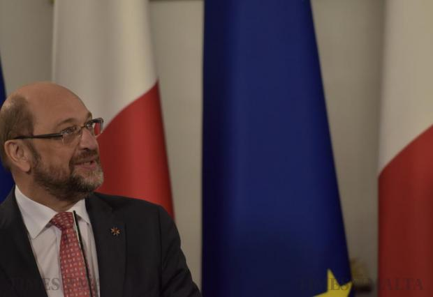 European Parliament president Martin Schulz takes part in a joint press conference with Prime Minister Joseph Muscat at Auberge de Castille in Valletta on December 8. Photo: Mark Zammit Cordina