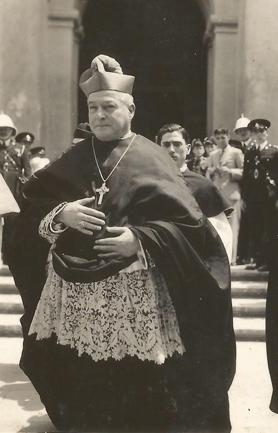 Caruana coming out of St John's Co-Cathedral after celebrating a pontifical High Mass on February 10, 1935. Seminarian George Sciriha is seen behind him. Photo: Joe Borg Bonello