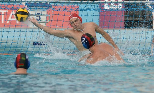 Malta's Nicholas Grixti saves a shot by Belarus's Kanstantin Averka during their European Water Polo Championship play-off match at the National Pool in Tal Qroqq on March 3. Photo: Matthew Mirabelli