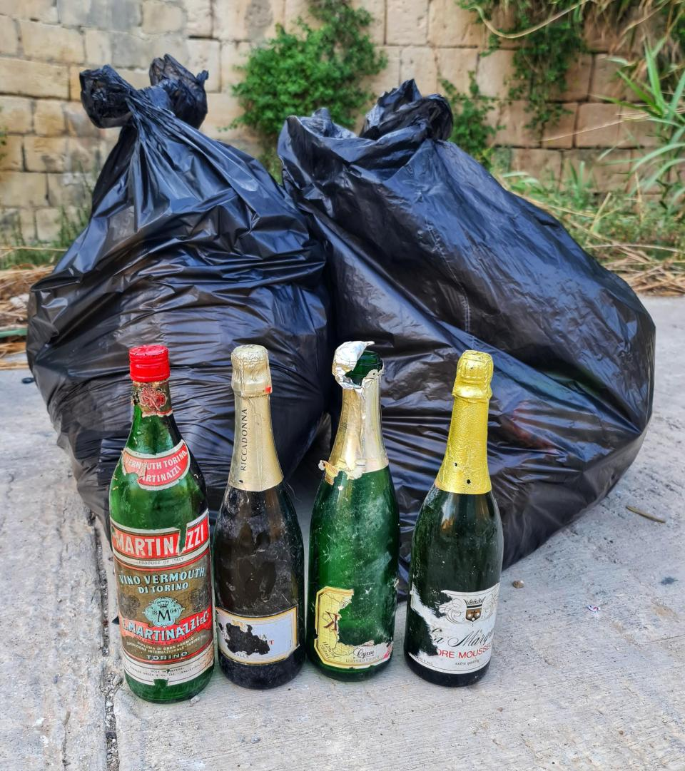 Some of the rubbish collected from Żebbuġ and its outskirts – from plastic bottles and empty tins of cat food to furniture and tyres. Photos:EmanAzzopardi