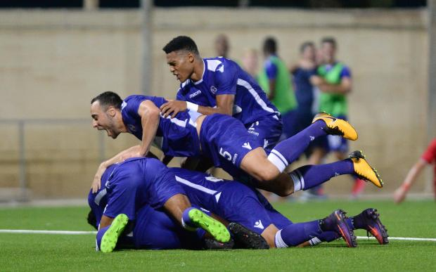 St Andrews players celebrate scoring during their BOV Premier League match at Centenary Stadium in Ta' Qali on August 25. Photo: Matthew Mirabelli